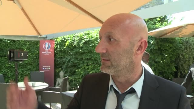euro 2016 organisation committee chief jacques lambert and ex france goalkeeper fabien barthez are positive recent fifa turmoil and scandal around... - euro 2016 stock videos and b-roll footage