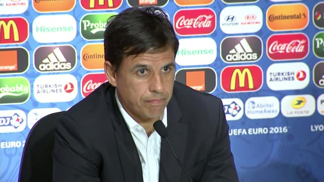 preview of wales v portugal semi-final; leon: int chris coleman press conference sot - we are going into this game as the underdogs .. not a problem... - semifinal round stock videos & royalty-free footage