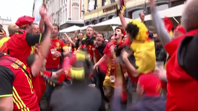 Wales beat Belgium to reach semifinals FRANCE Lille EXT Belgium football fans singing in the the street Street filled with Belgian football...