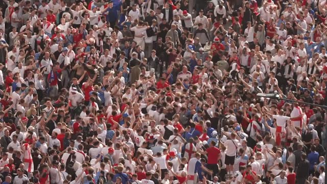 england v denmark build-up; england: london: wembley: wembley stadium: ext various shots england fans high angle shot crowd of england fans singing... - crowd stock videos & royalty-free footage