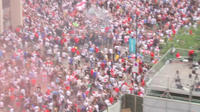 england v italy final: ticketless fans breach security at wembley; england: london: wembley: wembley stadium: ext england fans up stairwell / various... - smoke physical structure stock videos & royalty-free footage