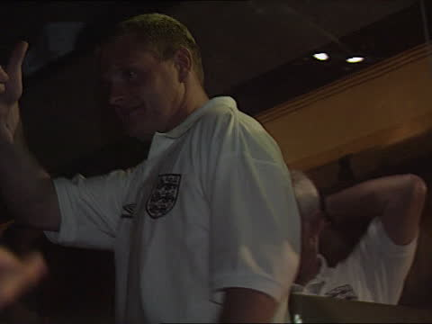 england defeat aftermath; 26.6.96 england: london: wembley ext lams players onto team coach as depart wembley pull out lacms paul gascoigne gives... - itv news at five stock videos & royalty-free footage