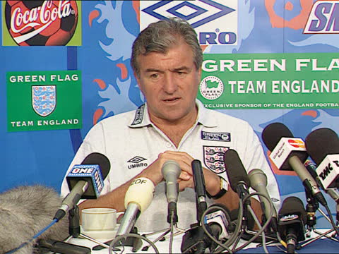 england defeat aftermath; england: bisham abbey: int cms terry venables drinking coffee in media centre cms terry venables intvw sot - everyone came... - itv news at five stock videos & royalty-free footage