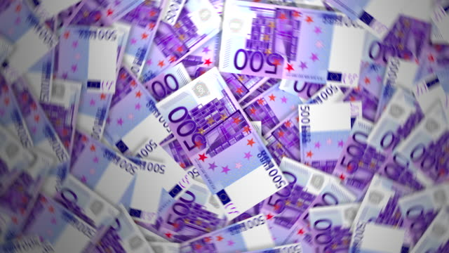 500 euro banknotes. 4k - euro symbol stock videos and b-roll footage