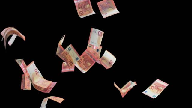 SLO MO Euro banknotes colliding in the air