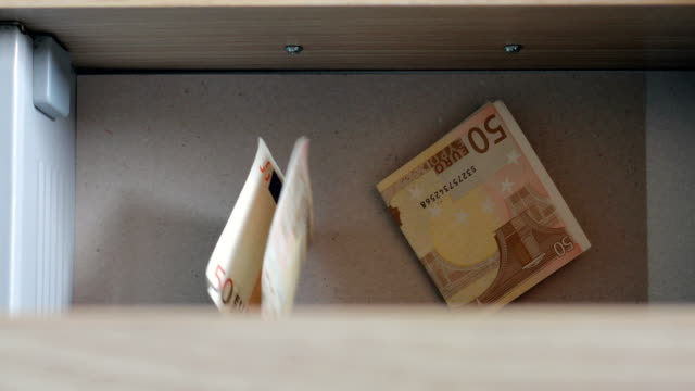 euro banknotes in drawer - drawer stock videos & royalty-free footage