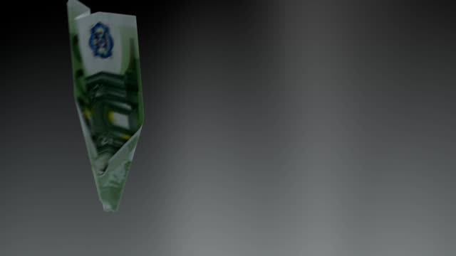 Euro bill plane falls down concept - loopable
