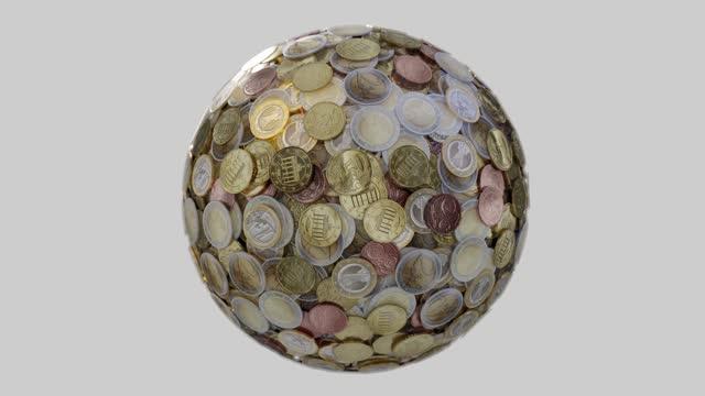 stockvideo's en b-roll-footage met de muntstukkenbal van de euro - cadeau