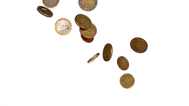 vídeos de stock, filmes e b-roll de euro coins falling against white background, slow motion - moeda