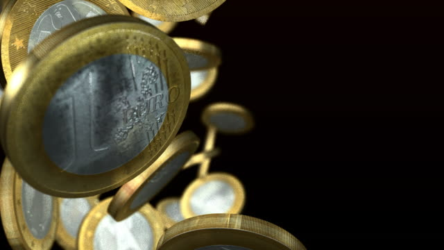 euro coins falling column - european union coin stock videos & royalty-free footage