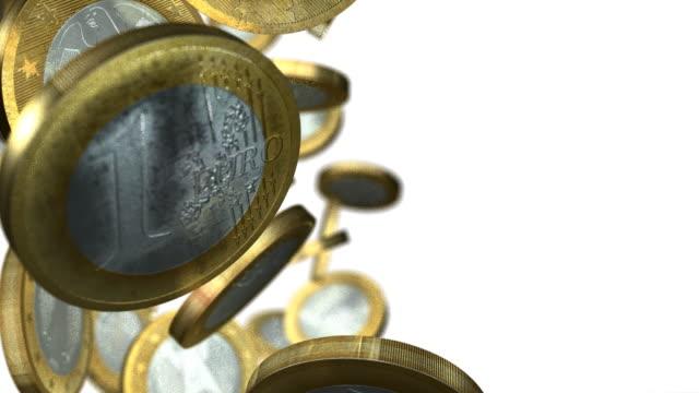 euro coins falling column with white background - european union coin stock videos & royalty-free footage