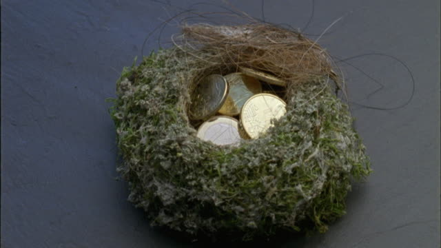 cu, euro coins in bird's nest - medium group of objects stock videos & royalty-free footage