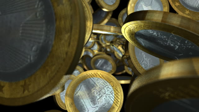 Euro Coins Tumbling Towards View