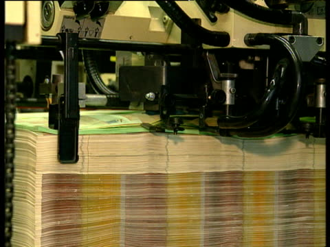 Euro currency bank notes on printing press; 1990's