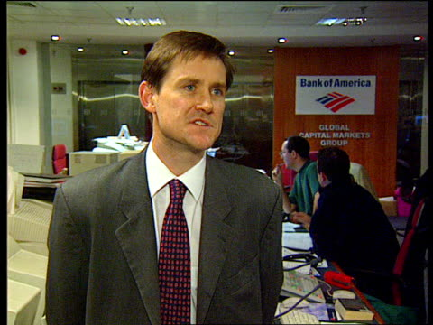 bank of america rob hayward interview sot if we were to see continuation of situation where people are worried about single currency then sterling... - bank of america stock videos & royalty-free footage