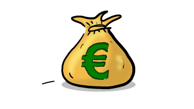 Euro money bag lands and saw cutting hole