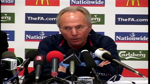 euro preparations / ulrika jonsson row slovakia bratislava int sven goran eriksson press conference sot sometimes you have to pay a price and so long... - slovakia stock videos & royalty-free footage