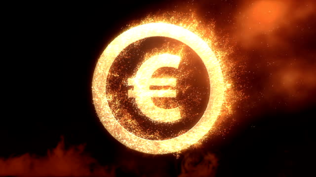 euro sign fire - logo stock videos and b-roll footage