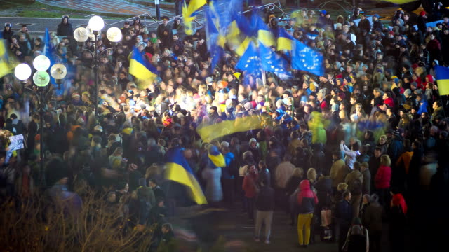 euromaidan protests in ukraine, november 2013 - time lapse - ukraine stock videos & royalty-free footage