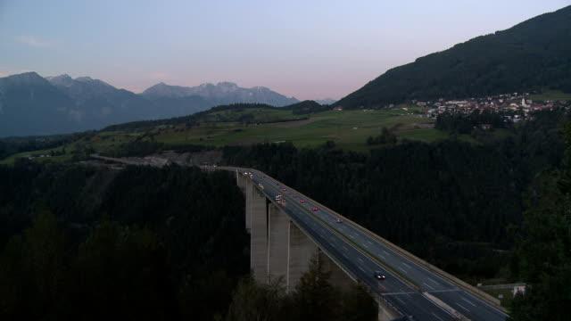 europa bridge, brenner pass at dusk - north tirol stock videos & royalty-free footage