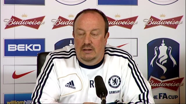 chelsea to play basel in semifinal england surrey cobham photography** rafael benitez press conference sot - cobham surrey stock videos and b-roll footage