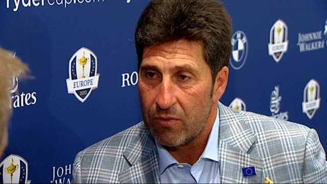 europe 2012 ryder cup victory: jose maria olazabal interview; england: london: heathrow airport: int jose maria olazabal interview sot - discusses... - pgaイベント点の映像素材/bロール