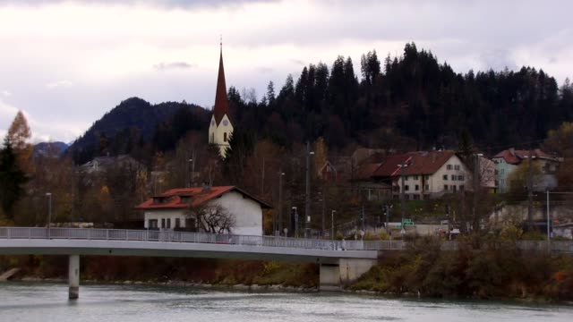 europe, austria, tyrol, kufstein, cityscape view with inn river - inn river stock videos and b-roll footage