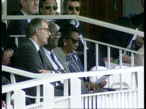 britain's position cf tape no longer available c1300 john major mp and others watching tx 22691 london england v west indies itn lords ms ditto int... - chancellor of the exchequer stock videos and b-roll footage