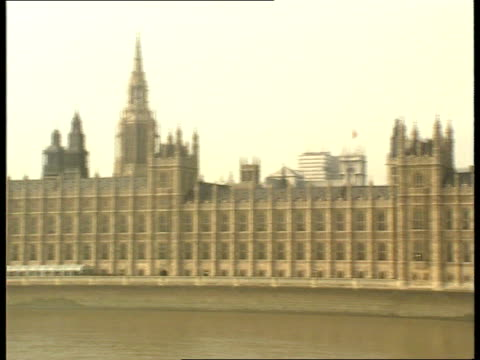 britain's position; itn lib gv house of parliament seen across river thames ditto l-r to big ben itn lib usa: new york int side former pm margaret... - former stock videos & royalty-free footage