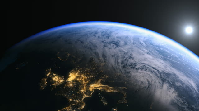 Europe from space and zooming in on Uk, Britain and central Europe in 4K.