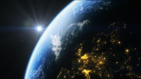 vídeos y material grabado en eventos de stock de europe from space in 4k - europa continente