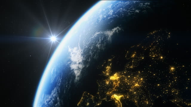 europe from space in 4k - europa continente video stock e b–roll