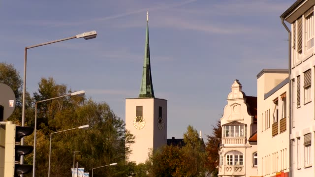 europe, germany, bavaria, rosenheim, view of church spire - spire stock videos & royalty-free footage
