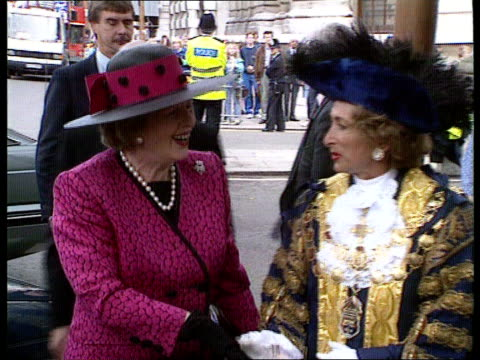 house of commons debate c4n england london westminster whitehall banqueting house cms former pm margaret thatcher mp out of car with husband denis in... - house husband stock videos & royalty-free footage