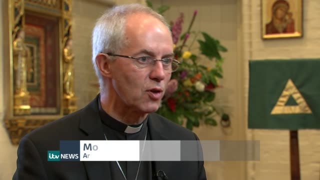 cameron promises more help england reporter sitting with archbishop of canterbury justin welby most reverend justin welby interview sot yorkshire ext... - ラゲ オマール点の映像素材/bロール