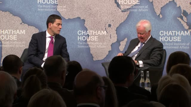 david miliband chatham house qa session england london chatham house int david miliband onstage interview and qa session in front of audience about... - david miliband stock videos & royalty-free footage