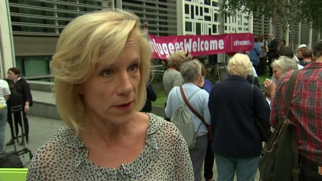 europe migrant crisis: home office demonstration urging government action; england: london: home office: ext juliet stevenson interview sot - juliet stevenson stock videos & royalty-free footage