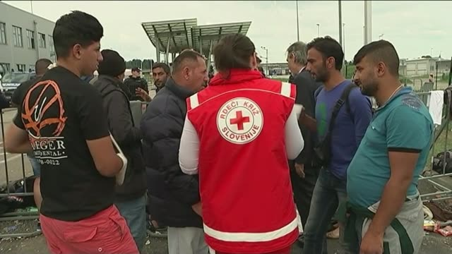 vídeos de stock, filmes e b-roll de refugees gather at serbiacroatia border/ usa to take more refugees groups of refugees seated on ground at croatiaslovenia border crossing point/... - migrant worker