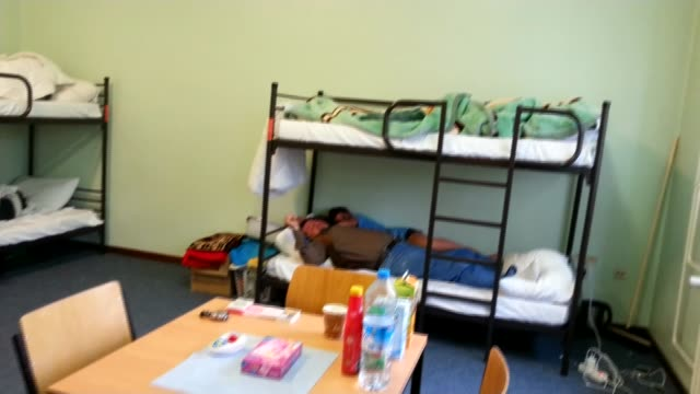 Story of one Iraqi refugee family INT Bunk beds inside room SHOT along to window Neda AlAmiri interview SOT I hope I learn the Germany language and I...