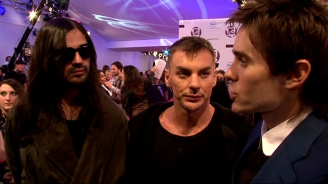 europe music awards 2011: celebrity interviews; 30 seconds to mars interview sot - on mtv emas being special / on their video 'hurricane' being... - mtv europe music awards stock videos & royalty-free footage