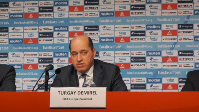 europe president turgay demirel speaks during a press conference with fiba executive director europe kamil novak and ffbb president jean pierre... - executive director stock videos & royalty-free footage