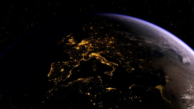 Europe seen from space at night