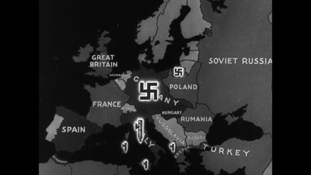 map europe w/ german nazi swastika symbol - 1939 stock videos & royalty-free footage