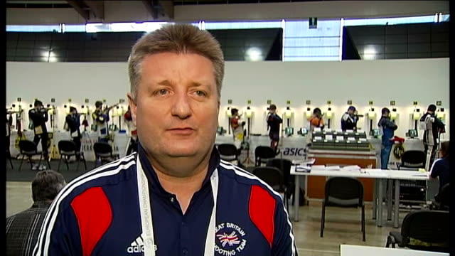 european air gun championships: british pair disappointed with performance; italy: brescia: int kenny parr breathing deeply as preparing to shoot... - スポーツ競技点の映像素材/bロール