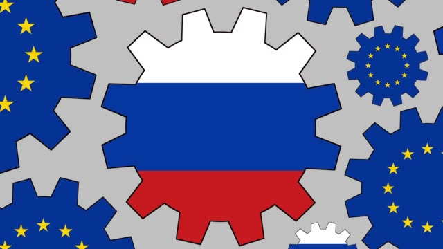 european and russian flag gears spinning background zooming out - russia stock videos & royalty-free footage