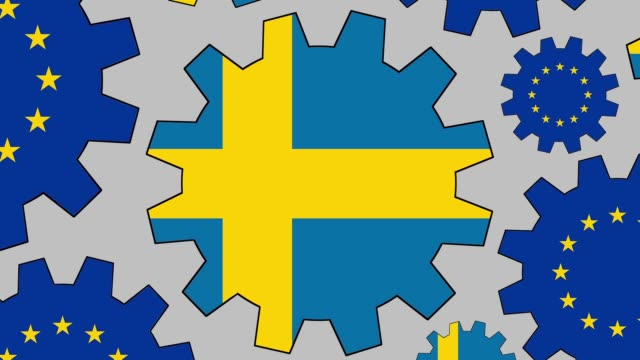 european and swedish flag gears spinning background zooming out - eu flag stock videos & royalty-free footage