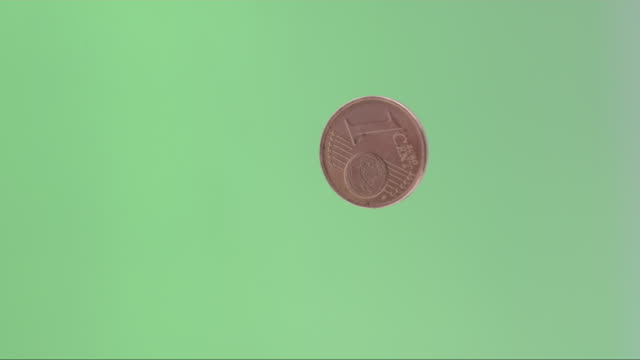 European Cent Rotating Infront Of Green Screen