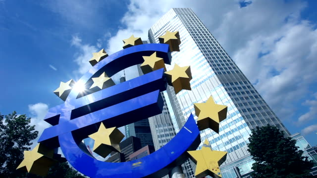 european central bank, frankfurt - time lapse - euro symbol stock videos and b-roll footage