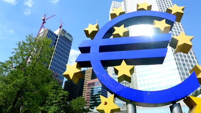 european central bank in frankfurt - euro symbol stock videos and b-roll footage