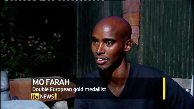 british team return to uk mo farah interview sot - richard pallot stock-videos und b-roll-filmmaterial